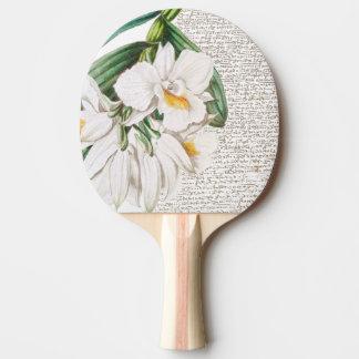 Raquete Para Ping-pong Caligrafia branca das orquídeas
