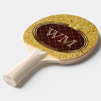 Raquete Para Ping-pong COROAS RETROS do OURO do botão + seu monograma