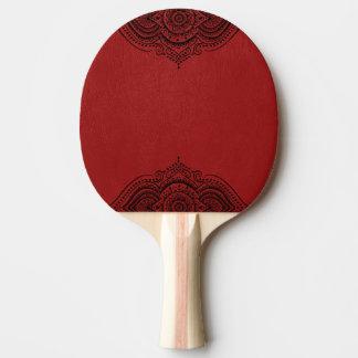 Raquete Para Ping-pong Couro vermelho do falso do vintage elegante & laço