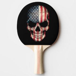 Raquete Para Ping Pong Crânio customizável da bandeira americana