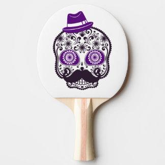 Raquete Para Ping-pong Crânio do açúcar com o chapéu e o bigode roxos