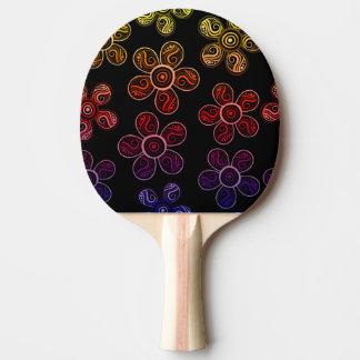 Raquete Para Ping Pong Design Groovy das flores do arco-íris