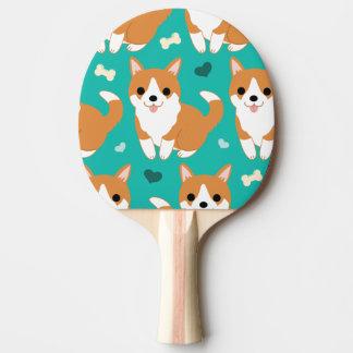 Raquete Para Ping-pong Do cão bonito do Corgi de Kawaii teste padrão