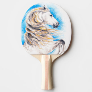 Raquete Para Ping Pong Elevando o cavalo branco