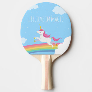 Raquete Para Ping Pong Eu acredito no arco-íris mágico do unicórnio