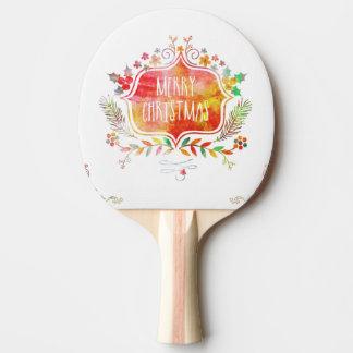 Raquete Para Ping Pong Feliz Natal retro da aguarela