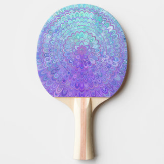 Raquete Para Ping-pong Flor da mandala na luz - azul e roxo