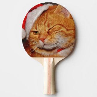 Raquete Para Ping-pong Gato alaranjado - gato de Papai Noel - Feliz Natal