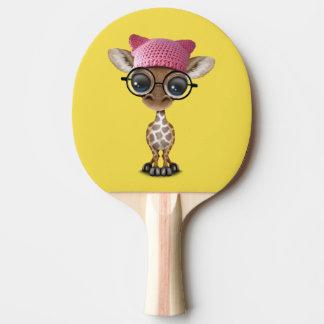 Raquete Para Ping-pong Girafa bonito do bebê que veste o chapéu do
