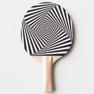Raquete Para Ping Pong Ilusão óptica espiral branca preta bonita