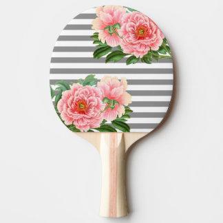 Raquete Para Ping-pong Linhas cor-de-rosa do cinza das peônias