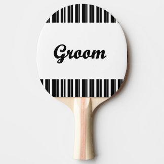 Raquete Para Ping Pong noivo com listras preto e branco