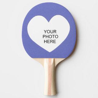 Raquete Para Ping-pong O coração no azul adiciona o quadro da foto