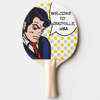 Raquete Para Ping Pong Pá de Pong do sibilo do pop art do homem do rock