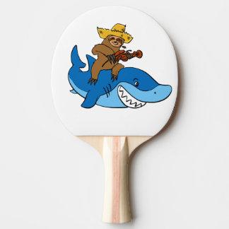 Raquete Para Ping Pong Preguiça do aldeão montada no tubarão