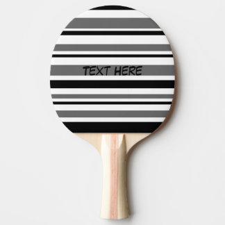 Raquete Para Ping Pong Preto customizável, cinza, listras brancas