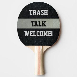Raquete Para Ping Pong Preto e pá engraçada da conversa do lixo da prata