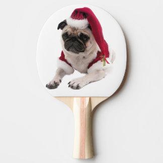 Raquete Para Ping Pong Pug do Natal - cão de Papai Noel - persiga claus