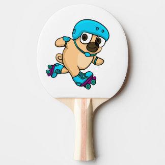 Raquete Para Ping Pong Pug dos desenhos animados em rollerblades