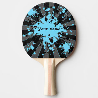 Raquete Para Ping Pong Splatters azuis preto e cinzas da pintura