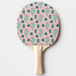Raquete Para Ping-pong Teste padrão bonito do cacto do rosa e do verde