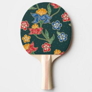 Raquete Para Ping Pong Teste padrão floral indonésio verde escuro do