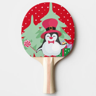 Raquete Para Ping-pong Um pinguim festivo - 1