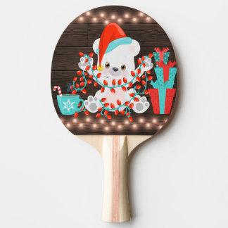 Raquete Para Ping Pong Urso polar pequeno bonito com luzes de Natal