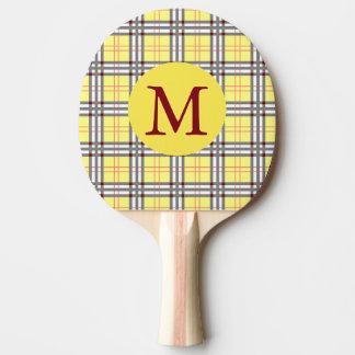 Raquete Para Ping Pong Xadrez de Tartan escocesa vermelha, cinzenta e