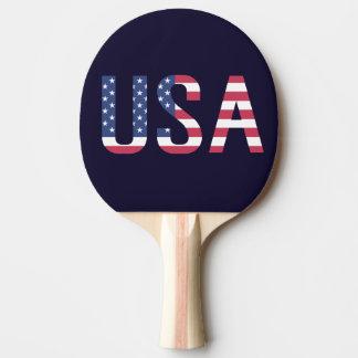Raquete Para Tênis De Mesa Bandeira americana do texto dos EUA no esporte