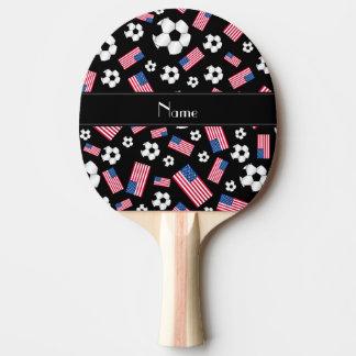 Raquete Para Tênis De Mesa Bandeira americana personalizada do futebol preto