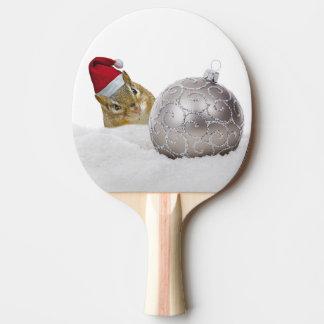 Raquete Para Tênis De Mesa Feriado bonito da prata do Chipmunk e do Natal da