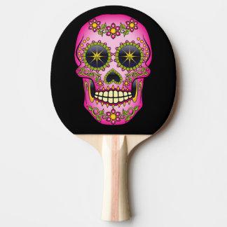 Raquete Para Tênis De Mesa Floral magenta do crânio do açúcar