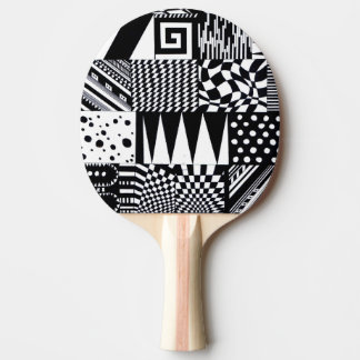Raquete Para Tênis De Mesa mão branca do teste padrão do preto geométrico