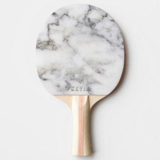 Raquete Para Tênis De Mesa Monograma cinzento do impressão do mármore do
