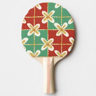 Raquete Para Tênis De Mesa Teste padrão floral indonésio dourado verde