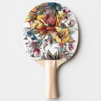 Raquete Para Tênis De Mesa Teste padrão tirado realístico do buquê floral