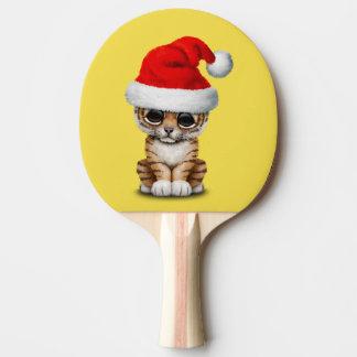 Raquete Para Tênis De Mesa Tigre Cub bonito que veste um chapéu do papai noel