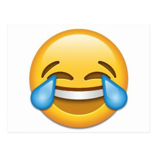 Rasgos do emoji da alegria engraçados cartão postal
