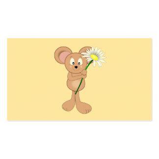 Rato adorável com margarida cartões de visitas