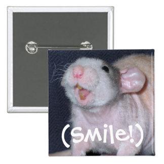 Rato bonito do sorriso bóton quadrado 5.08cm
