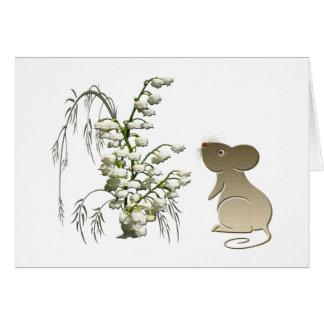 Rato bonito e lírio do vale cartão comemorativo