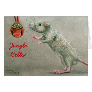 Rato de Bels de tinir com o cartão de Natal do