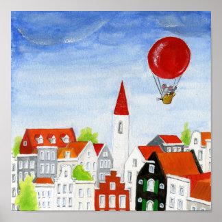 Rato do balão & poster dos telhados
