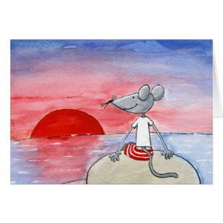 Rato do por do sol que deseja o cartão