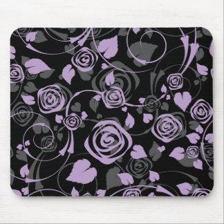 Rato floral chique preto & do roxo do rosa do comp mouse pad