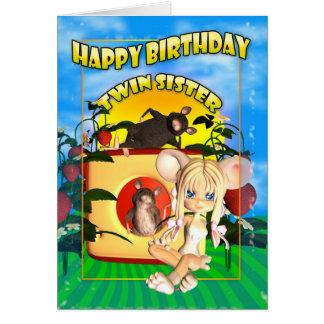Rato gêmeo da torta do cutie do cartão de aniversá