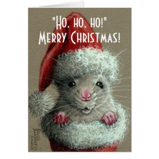 Rato no cartão de Natal da meia do chapéu do papai