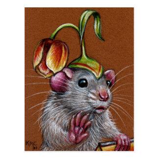 Rato no cartão parvo do chapéu da tulipa