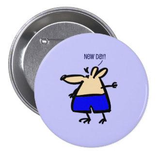 Rato novo do divertimento do dia no crachá azul de bóton redondo 7.62cm